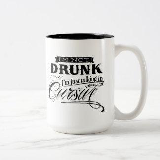 Talking In Cursive Two-Tone Coffee Mug