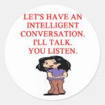 talking insult classic round sticker