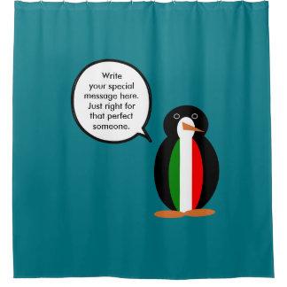 Talking Italian Penguin Flag Shower Curtain
