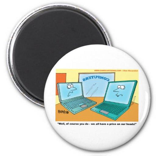 Talking Laptop Computer Cartoon 2 Inch Round Magnet