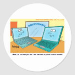 Talking Laptop Computer Cartoon Classic Round Sticker