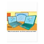 Talking Laptop Computer Cartoon Postcard