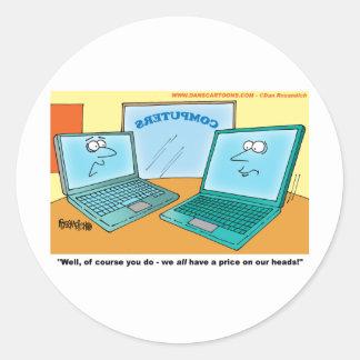 Talking Laptop Computer Cartoon Round Sticker