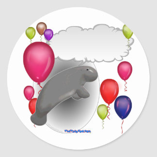 Talking Manatee Party Classic Round Sticker