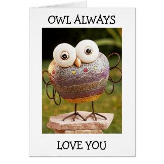 TALKING OWL=OWL ALWAYS LOVE YOU BIRTHDAY WISHES CARD