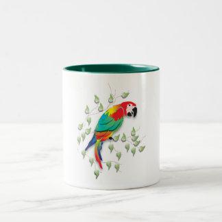 Talking parrot on coffee mug