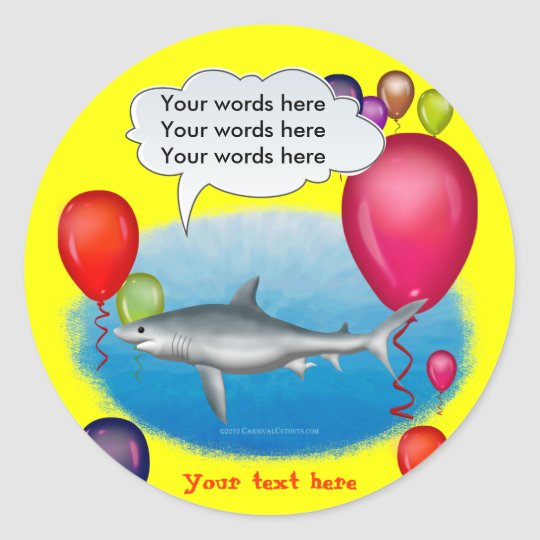 Talking Party Shark Classic Round Sticker