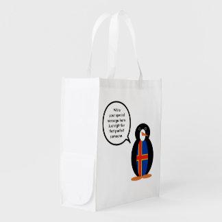 Talking Penguin Aland Islands Flag Grocery Bag
