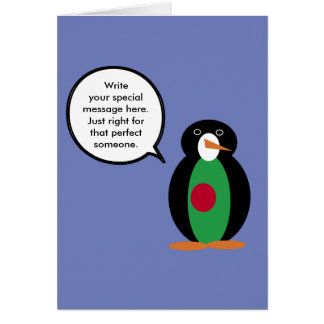 Talking Penguin Bangladeshi Flag Card