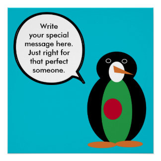 Talking Penguin Bangladeshi Flag Poster