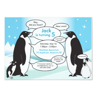 Talking Penguin Birthday Invitation