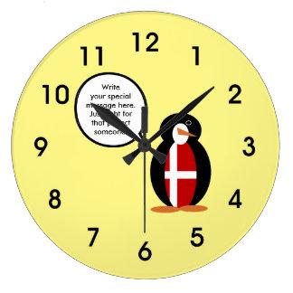 Talking Penguin Danish Flag Large Clock