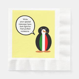 Talking Penguin Italian Flag Paper Napkin