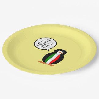 Talking Penguin Italian Flag Paper Plate