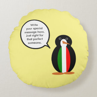 Talking Penguin Italian Flag Round Pillow
