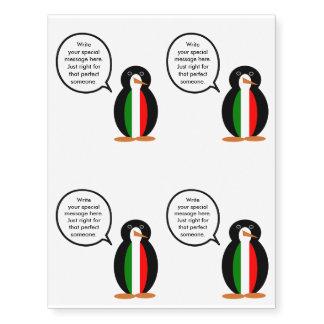 Talking Penguin Italian Flag Temporary Tattoos