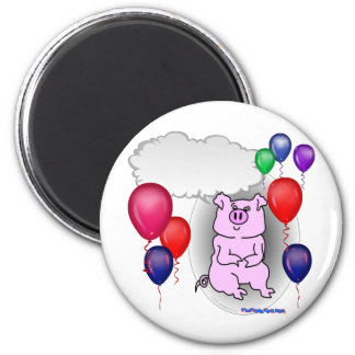 Talking Pink Party Pig 2 Inch Round Magnet