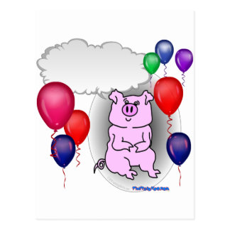 Talking Pink Party Pig Postcard