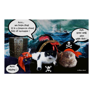 TALKING PIRATE CATS AND SHIP IN THE SEA STORM POSTER