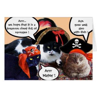 TALKING PIRATE CATS ,ANTIQUE PIRATES TREASURE MAPS CARD
