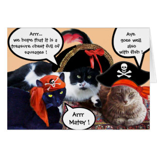 TALKING PIRATE CATS ,ANTIQUE PIRATES TREASURE MAPS STATIONERY NOTE CARD