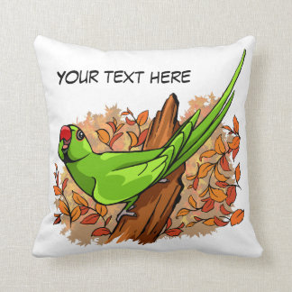 Talking ringneck parrot text is customizable throw pillow