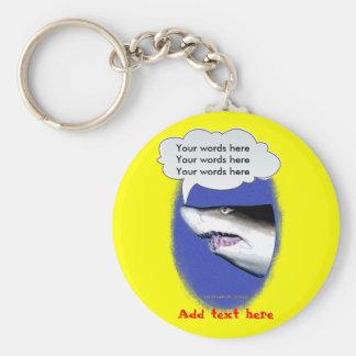 Talking Shark (photo) Basic Round Button Keychain