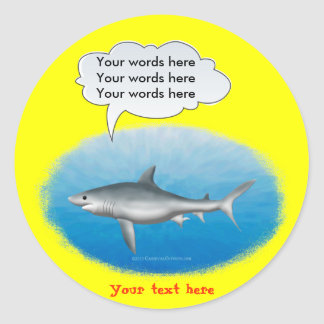 Talking Shark Template Classic Round Sticker