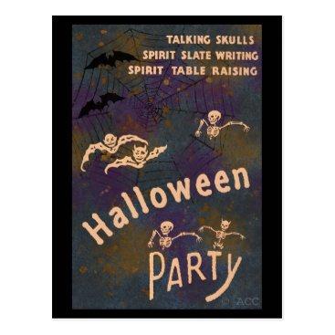 Halloween Themed Talking Skulls Spirit Writing Halloween Party Postcard