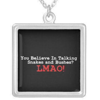 Talking Snakes and Bushes Square Pendant Necklace