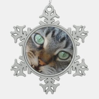 Talking Tabby Snowflake Pewter Christmas Ornament
