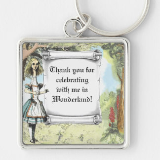 Tall Alice 2 Silver-Colored Square Keychain