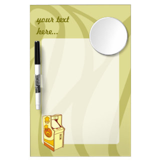 Tall arcade game console dry erase board with mirror