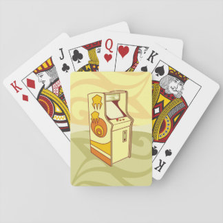 Tall arcade game console playing cards