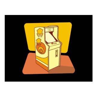 Tall arcade game console postcard