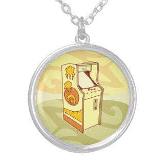Tall arcade game console silver plated necklace