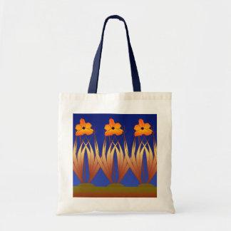 Tall Art Deco Fower Design Canvas Bag