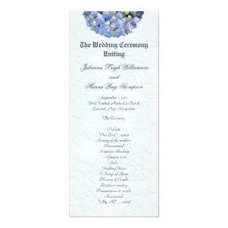 Tall Blue Hydrangea Wedding Ceremony Programs Custom Invite