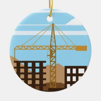 Tall building Crane sky Ceramic Ornament