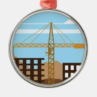 Tall building Crane sky Metal Ornament