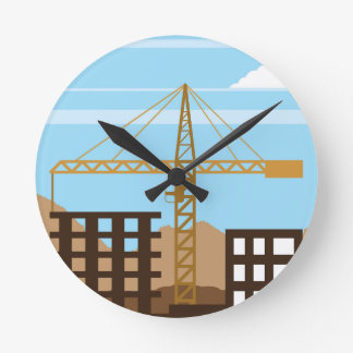 Tall building Crane sky Round Clock