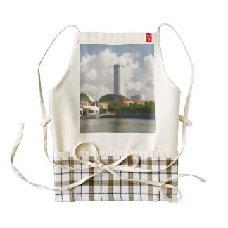 Tall building in Singapore next to River Zazzle HEART Apron