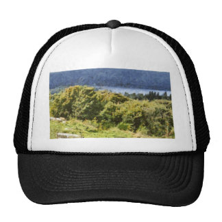 Tall bushes on shore of a lake trucker hat