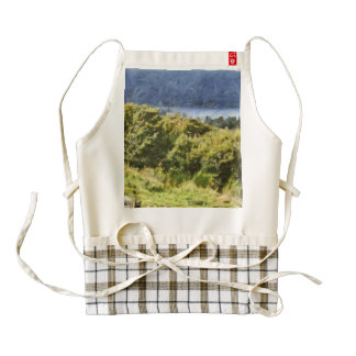 Tall bushes on shore of a lake zazzle HEART apron