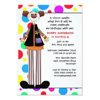 "Tall Circus Clown Child's Birthday Invitation 5"" X 7"" Invitation Card"