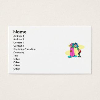 Tall clown little kid business card