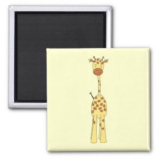 Tall Cute Giraffe. Cartoon Animal. 2 Inch Square Magnet