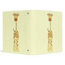 Tall Cute Giraffe. Cartoon Animal. Binder