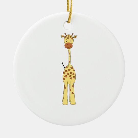 Tall Cute Giraffe. Cartoon Animal. Ceramic Ornament