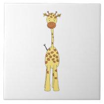 Tall Cute Giraffe. Cartoon Animal. Ceramic Tile